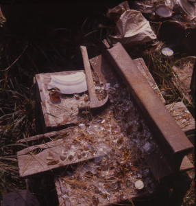 Fred Smith's outdoor studio, glass breaking area. Photo: Robert Amft, date unknown