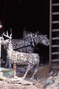 Deer and horse team sculptures stored in the barn, before relocation to the East Meadow. Photo: Don Howlett, spring 1977