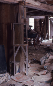Fred Smith barn interior with sculpture armature. Photo: Don Howlett, spring 1977