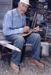 Fred Smith playing the mandolin. Photo: Schwalbach family, date unknown