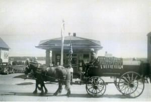 Fred Smith and horse team in Phillips parade. Photographer and date unknown.