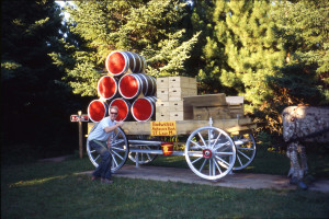 Erik Weisenburger with restored and repainted Budweiser Display wagon.